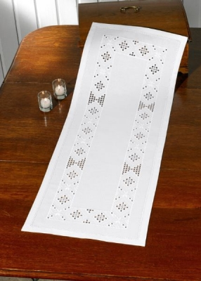 click here to view larger image of  Hardanger White Table Runner (counted cross stitch kit)