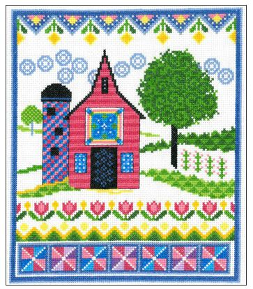 click here to view larger image of Barn With Spring Quilts (chart)