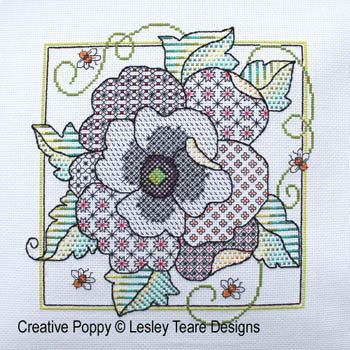 click here to view larger image of Blackwork Poppy (chart)