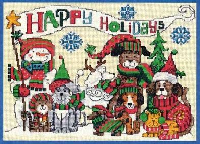 click here to view larger image of Happy Pawlidays (counted cross stitch kit)