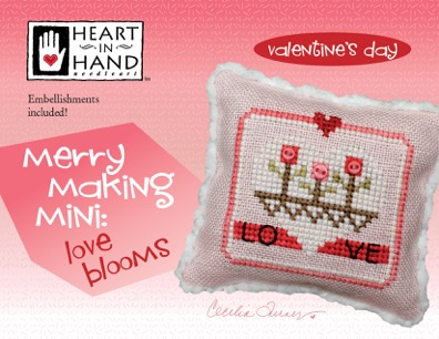 click here to view larger image of Merry Making Mini - Love Blooms (w/embellishments) (chart with charms/buttons)