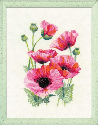 click here to view larger image of Pink Poppies (counted cross stitch kit)