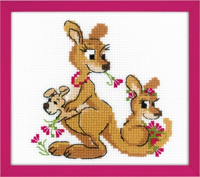 click here to view larger image of Kangaroo Family (counted cross stitch kit)