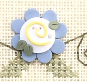 click here to view larger image of Blue Flower Button (buttons)