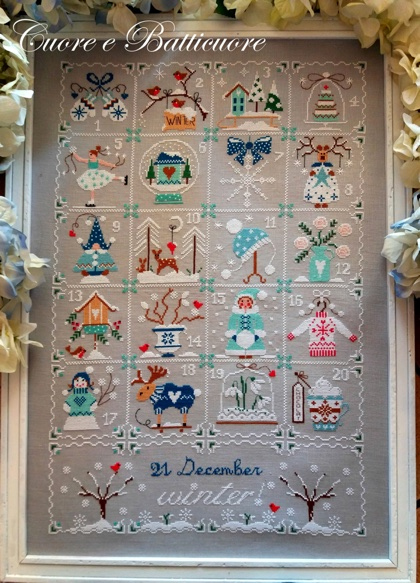 Shabby Winter Calendar - click here for more details about chart
