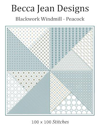 click here to view larger image of Blackwork Windmill - Peacock (chart)