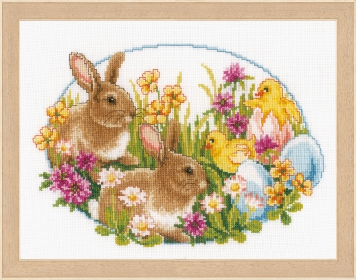 click here to view larger image of Rabbits and Chicks (counted cross stitch kit)