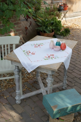 click here to view larger image of Flowers Table Topper (stamped cross stitch kit)