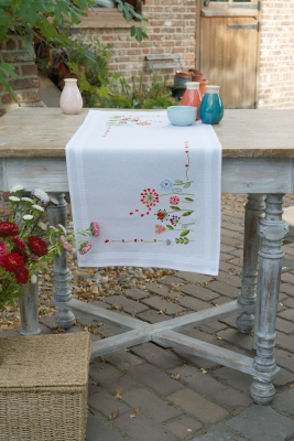 click here to view larger image of Flowers Table Runner (stamped cross stitch kit)