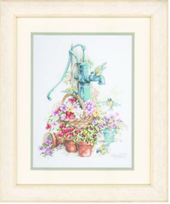 click here to view larger image of Water Pump with Birds (counted cross stitch kit)
