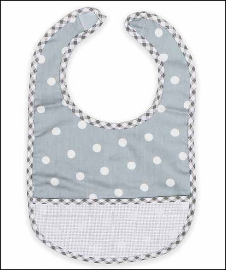 click here to view larger image of Grey Polka Dot Baby Bib (stitchable)
