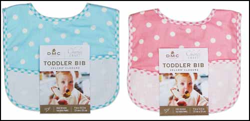 click here to view larger image of Pink and Blue Dot Bibs - Pack of 6 (stitchable)