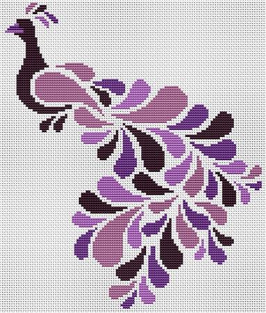 click here to view larger image of Abstract Peacock in Purple (chart)