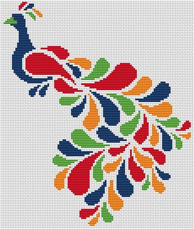click here to view larger image of Abstract Peacock in Rainbow (chart)