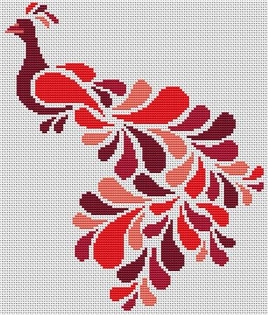 click here to view larger image of Abstract Peacock in Red (chart)