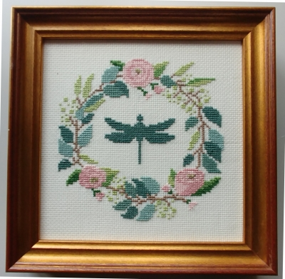 click here to view larger image of Botanical Wreath - Dragonfly (counted cross stitch kit)