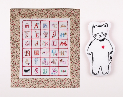 click here to view larger image of Kitty and Quilt Embroidery (2 designs)  (counted cross stitch kit)