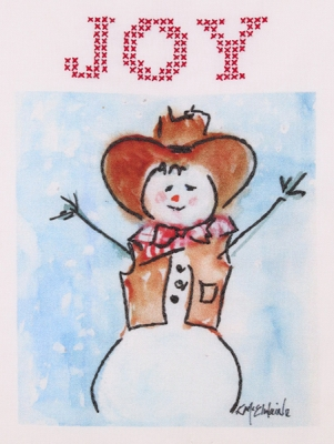 click here to view larger image of Cowboy Snowman  (stamped cross stitch)