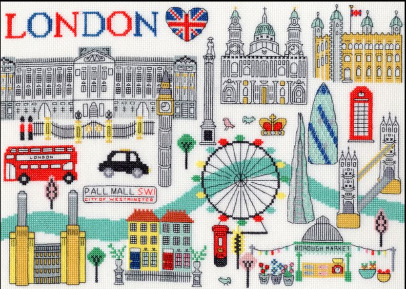 click here to view larger image of Love London (counted cross stitch kit)