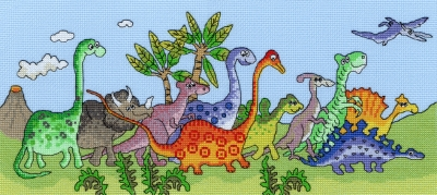click here to view larger image of Dinosaur Fun (counted cross stitch kit)