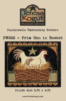 click here to view larger image of Prim Hen in Basket (Punchneedle)