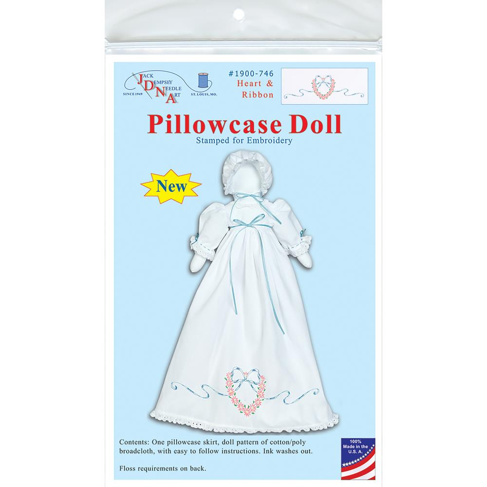 click here to view larger image of Heart & Ribbon Pillowcase Doll (embroidery kit)