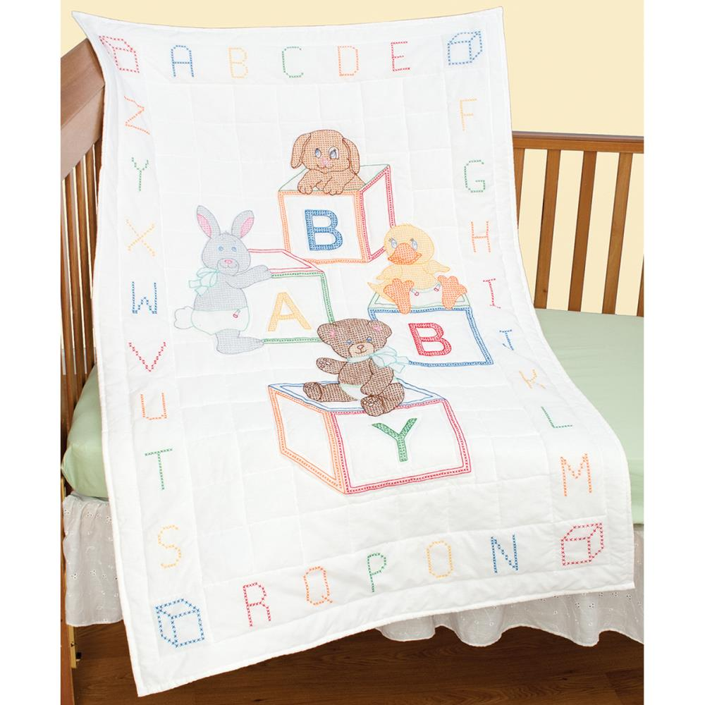 click here to view larger image of Baby Blocks Quilt Top - White (stamped cross stitch)