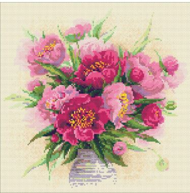 click here to view larger image of Peonies In A Vase (Diamond Embroidery)