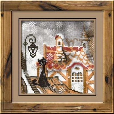 click here to view larger image of City & Cats Winter (counted cross stitch kit)