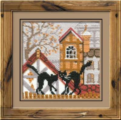 click here to view larger image of City & Cats Autumn (counted cross stitch kit)