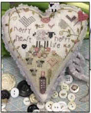 Happy Life Pincushion - click here for more details about counted cross stitch kit