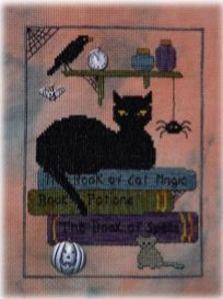 click here to view larger image of Halloween Library Cat (chart with charms/buttons)