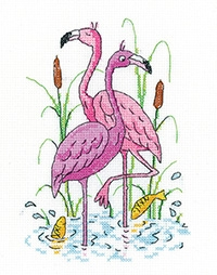 click here to view larger image of Flamingos (counted cross stitch kit)