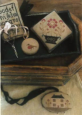 click here to view larger image of Farmhouse Sampler Pinkeep, Pin Disk, Scissor Fob & Needle (chart)