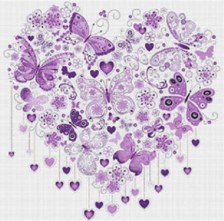 click here to view larger image of Purple Butterfly Heart (chart)