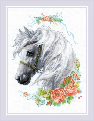 click here to view larger image of White Mane and Roses (counted cross stitch kit)