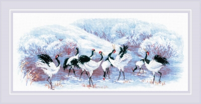 click here to view larger image of Japanese Cranes (counted cross stitch kit)