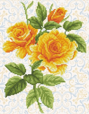 click here to view larger image of Yellow Rose Bouquet (Diamond Embroidery)