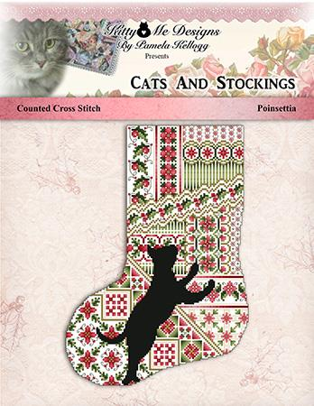 click here to view larger image of Cats and Stockings - Poinsettia (chart)