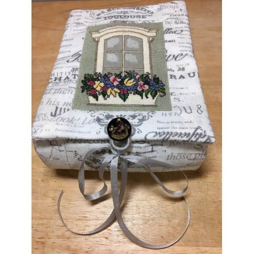 click here to view larger image of English Silk Window Flower-Box Toile Fabric-Created Box (counted cross stitch kit)