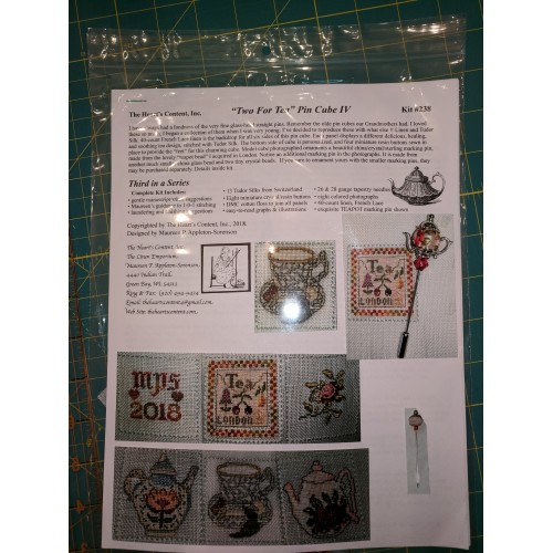 Tea for Two Mini Pin Cube IV - click here for more details about counted cross stitch kit