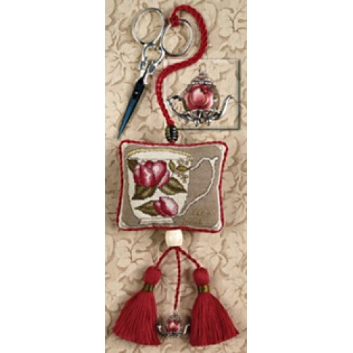 click here to view larger image of Chintz Teapot Scissors Fob (counted cross stitch kit)