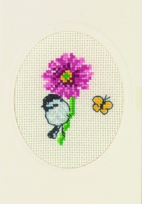 click here to view larger image of Anemone - Flower Card (counted cross stitch kit)