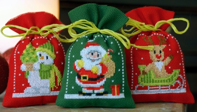 click here to view larger image of Christmas Figures (Set of 3) (counted cross stitch kit)