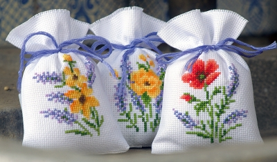 click here to view larger image of Flowers & Lavender (Set of 3) (counted cross stitch kit)