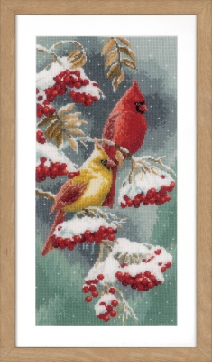 click here to view larger image of Scarlet & Snow-Cardinals (counted cross stitch kit)