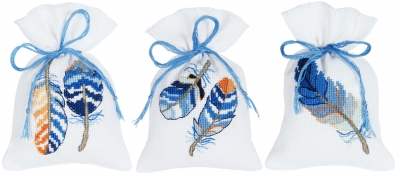 click here to view larger image of Blue Feathers (Set of 3) (counted cross stitch kit)