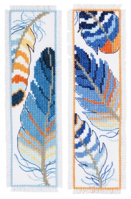 click here to view larger image of Blue Feathers Bookmark (Set of 2) (counted cross stitch kit)