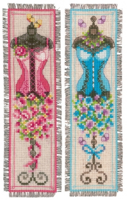 click here to view larger image of Vintage Mannequins Bookmark (Set of 2) (counted cross stitch kit)