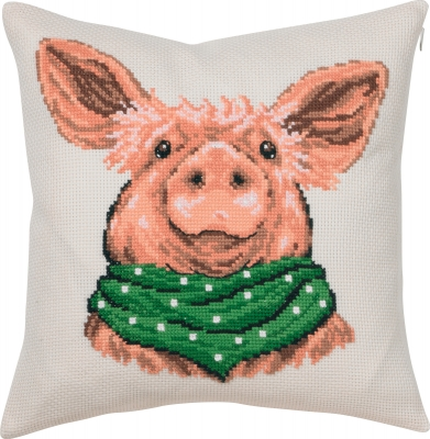 click here to view larger image of Happy Pig Cushion (counted cross stitch kit)